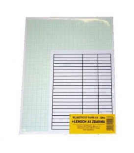 Papír milimetrový A3 20ks+ lenoch A4 zdarma
