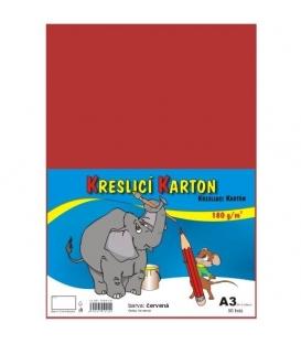 Karton kreslící barevný A3 180g červený
