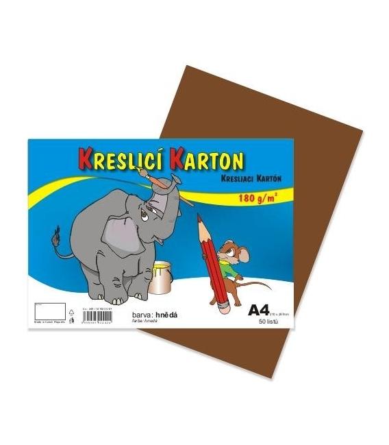 Karton kreslící barevný A4 180g hnědý