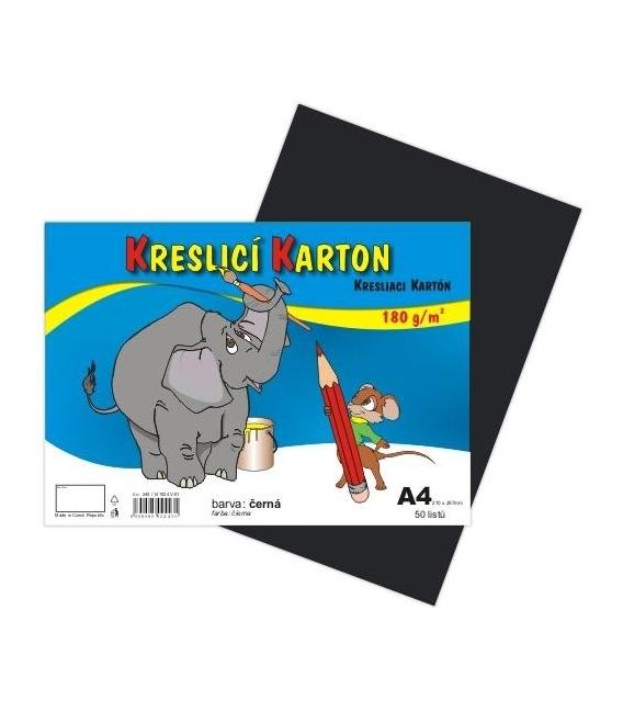 Karton kreslící barevný A4 180g černý