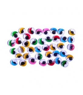 Oči pohyblivé 1,2cm/ 40ks mix barev v sáčku