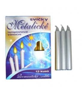Svíčka Vánoční metal stříbrná/12ks
