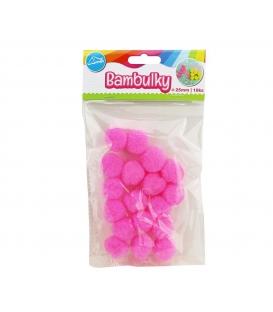 Bambulky kreativní růžové (18ks v sáčku) 25mm