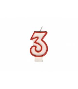 """Svíčka dortová – číslo """"3"""""""