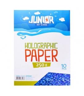 Karton kreativní A4 250g/10 archů holografický modrý