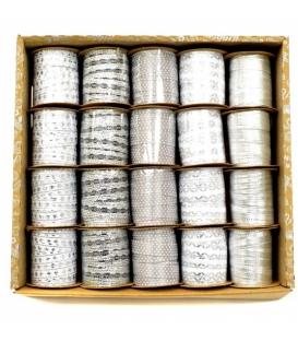 Stuha dekorační textilní 1cmx3m stříbrná