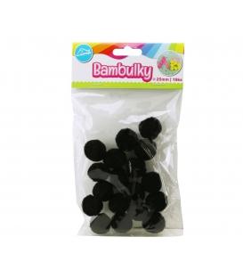 Bambulky kreativní černé (18ks v sáčku) 25mm