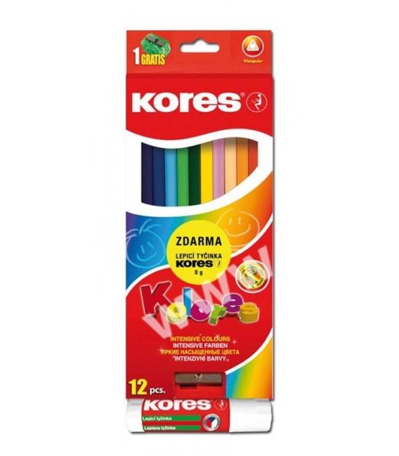 Pastelky Kores trojhranné 12 ks + ořezávátko + tyčinka 8g
