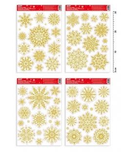 Fólie adhezní na okno Vánoční 31x22cm Vločky zlaté /450/