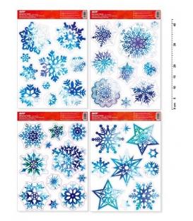 Fólie adhezní na okno Vánoční 30x42cm Vločky s glitry