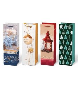 Taška dárková vánoční T12 mix V24 na víno 125x365x90 mm