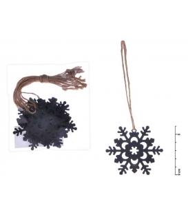 Vločka závěs kov černý mat 6 cm